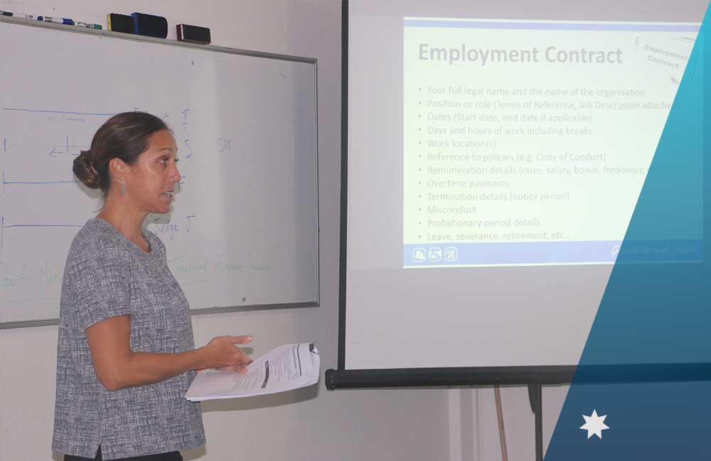 Lenise Monteiro running the workshop session to promote career development.