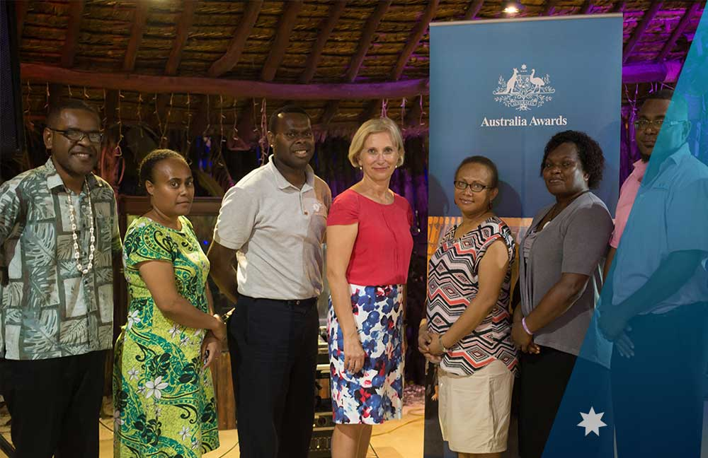 The Australian High Commissioner, Her Excellency Jenny Da Rin, with the new Australia Awards committee members in Vanuatu.