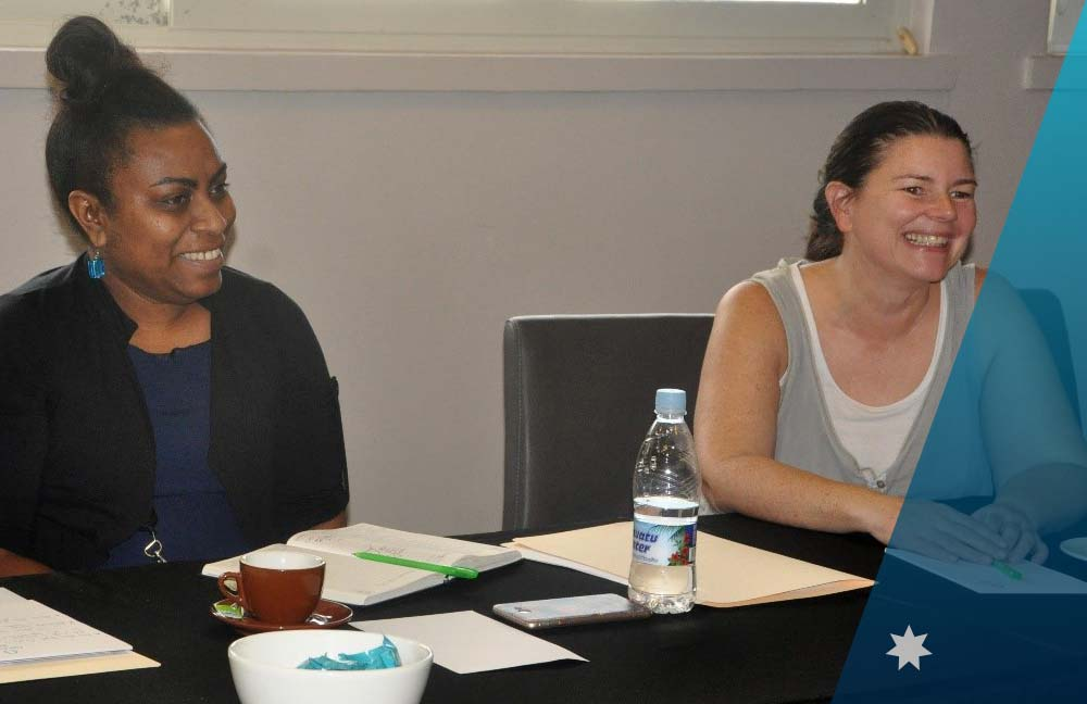 Disability Advisor Joanne Webber and Australia Awards Vanuatu Alumni during discussions at the GEDSI Workshop