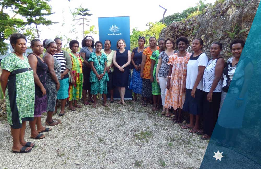 Australia Awards Alumni at the Inspiring Women into Leadership in Vanuatu joined by panellists and guests.