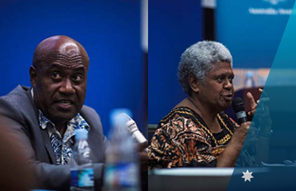 Member of Parliament Ronald Warsal (left) and Leias Cullwick (right) discussing their experiences during the 'Life in Politics' panel discussion organised by Australia Awards Vanuatu.